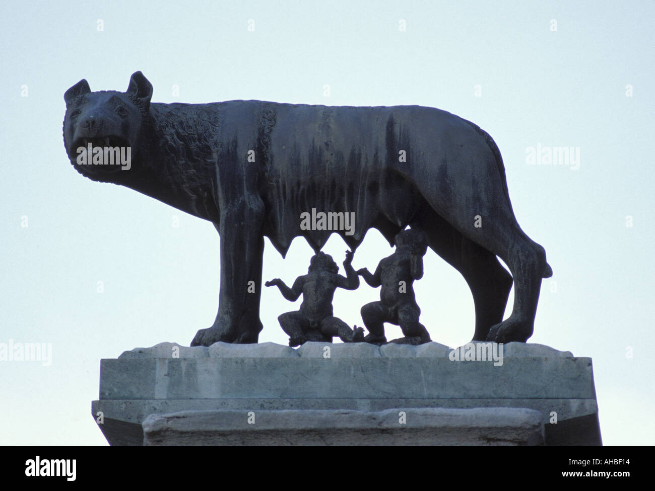 She wolf with Romolo and Remo Campidoglio Rome Lazio Italy - Stock Image