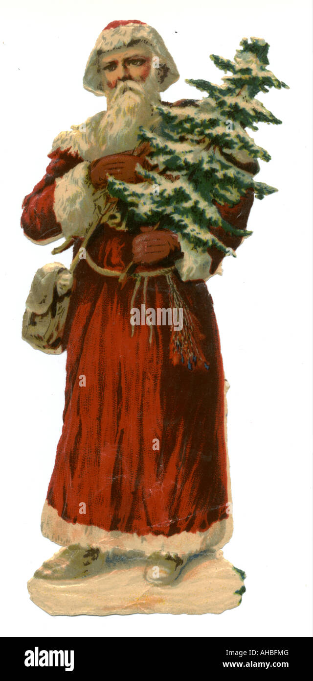 A87NX7 Chromolithographed die cut scrap of Father Christmas circa 1880 - Stock Image
