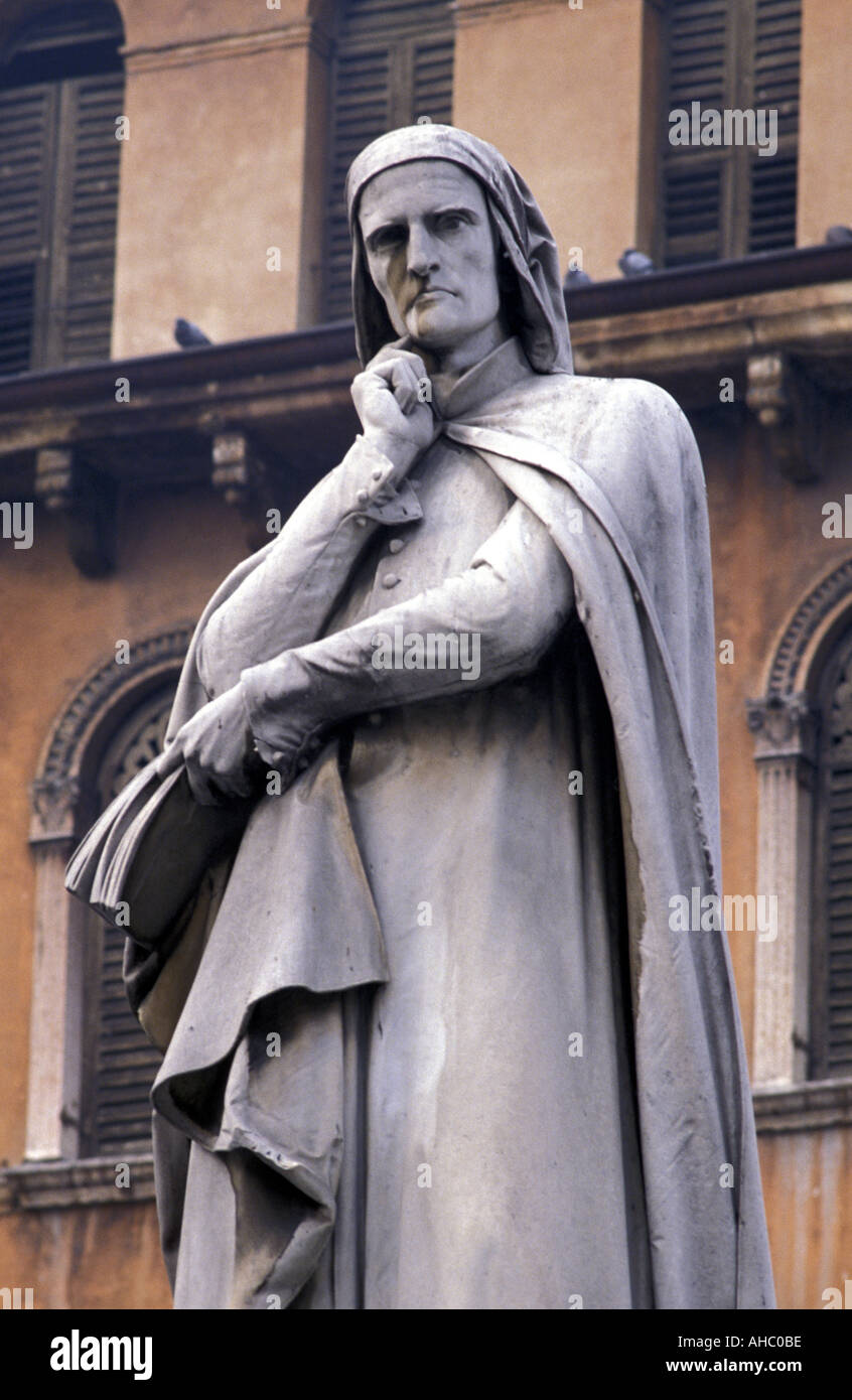The Dante monument Verona Veneto Italy Stock Photo