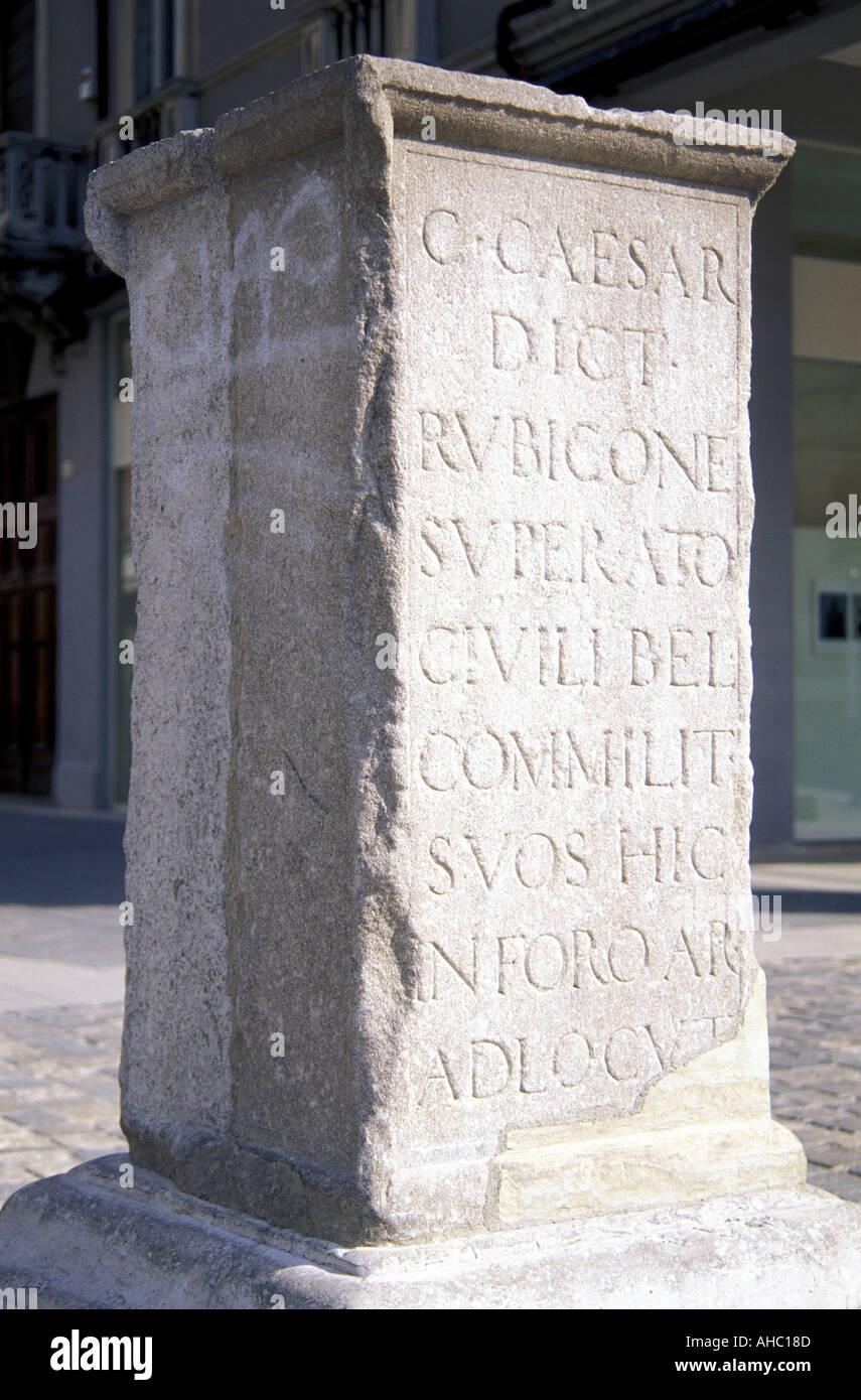 Julius Caesar s column Rimini Emilia Romagna Italy - Stock Image