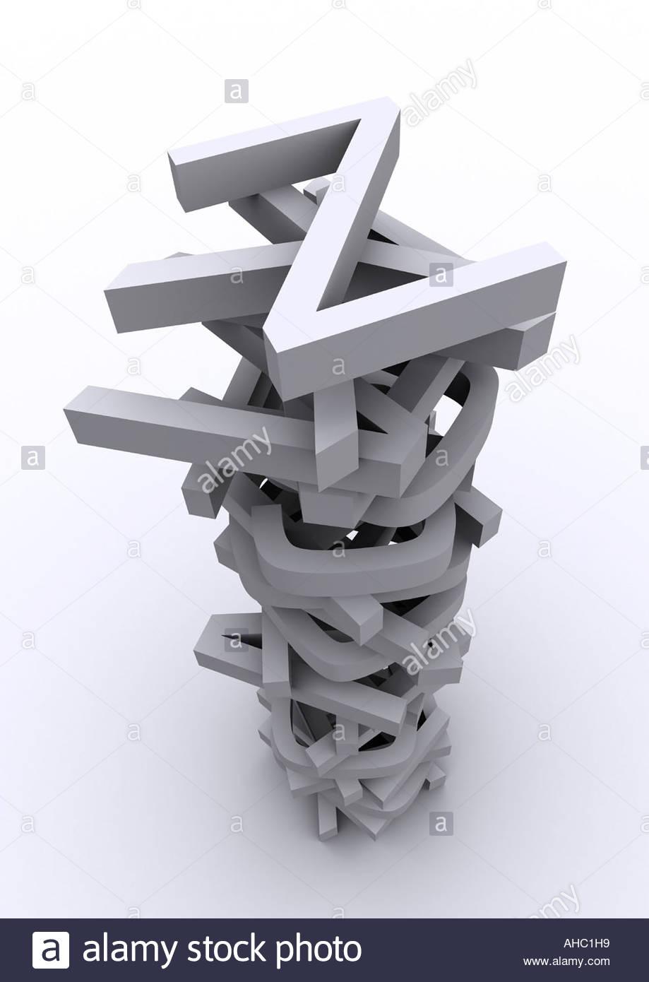 Typography 3D alphabet - Stock Image
