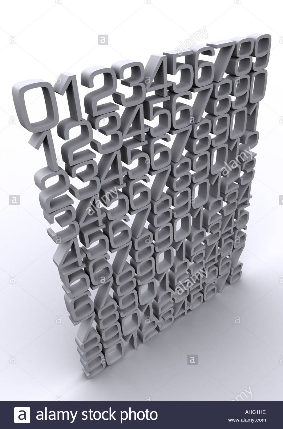 Typography 3D numerals - Stock Image