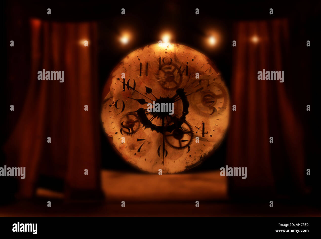 Clock and stage curtains - Stock Image