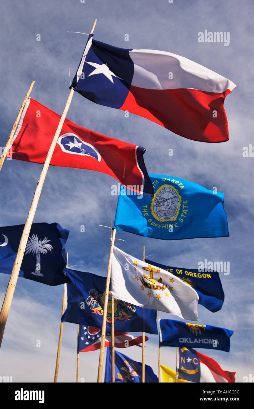 State Flags of the United States Waving in the Wind Friendship Indiana - Stock Image