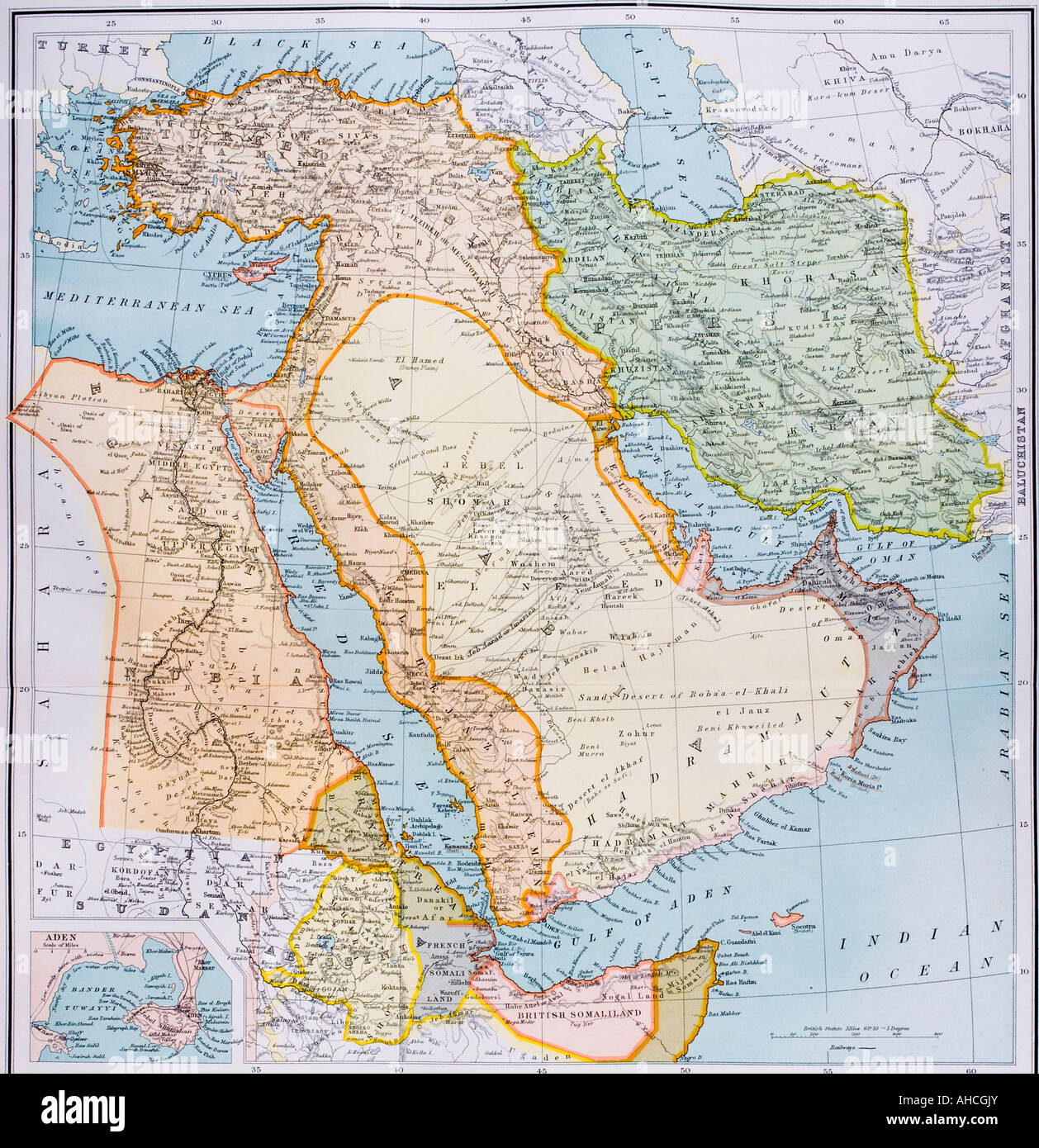 Partial map of Middle East in 1890s
