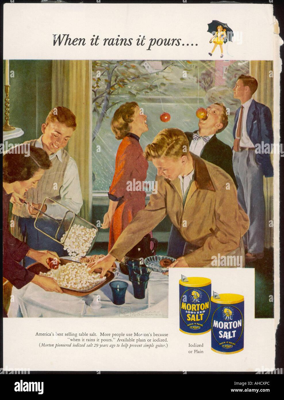 Advert Morton Salt 1953 Stock Photo: 8248299 - Alamy