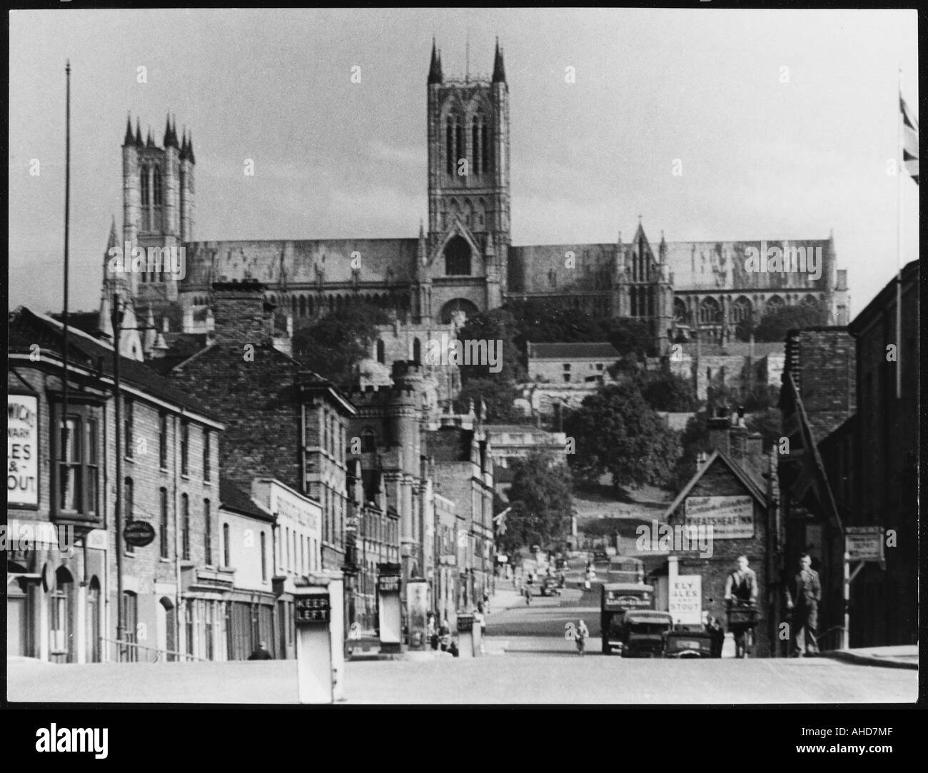 Lincoln Cathedral 1940s - Stock Image