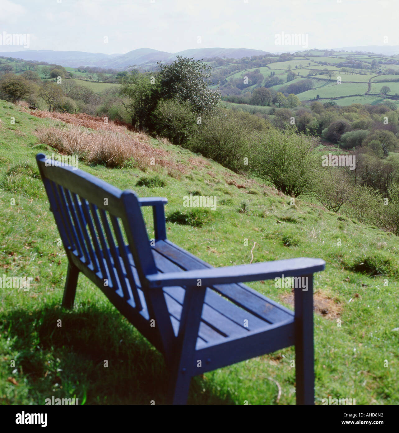 An blue garden bench overlooking the hills in the spring countryside landscape near Llandovery and Llanwrda of Carmarthenshire Wales UK  KATHY DEWITT - Stock Image