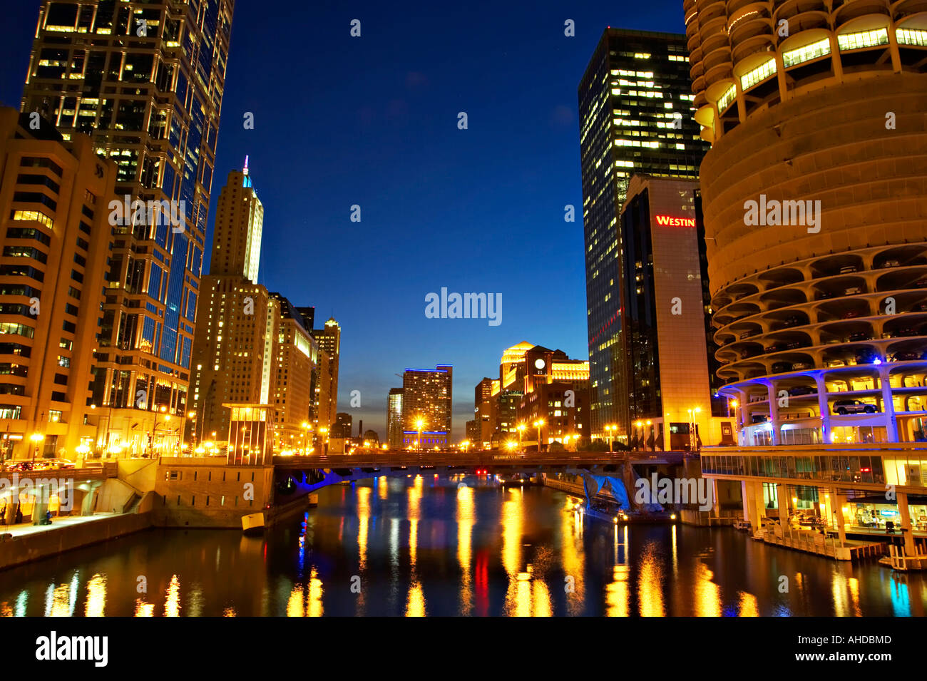 Illinois Chicago Buildings Along Chicago River At Night Lights Stock