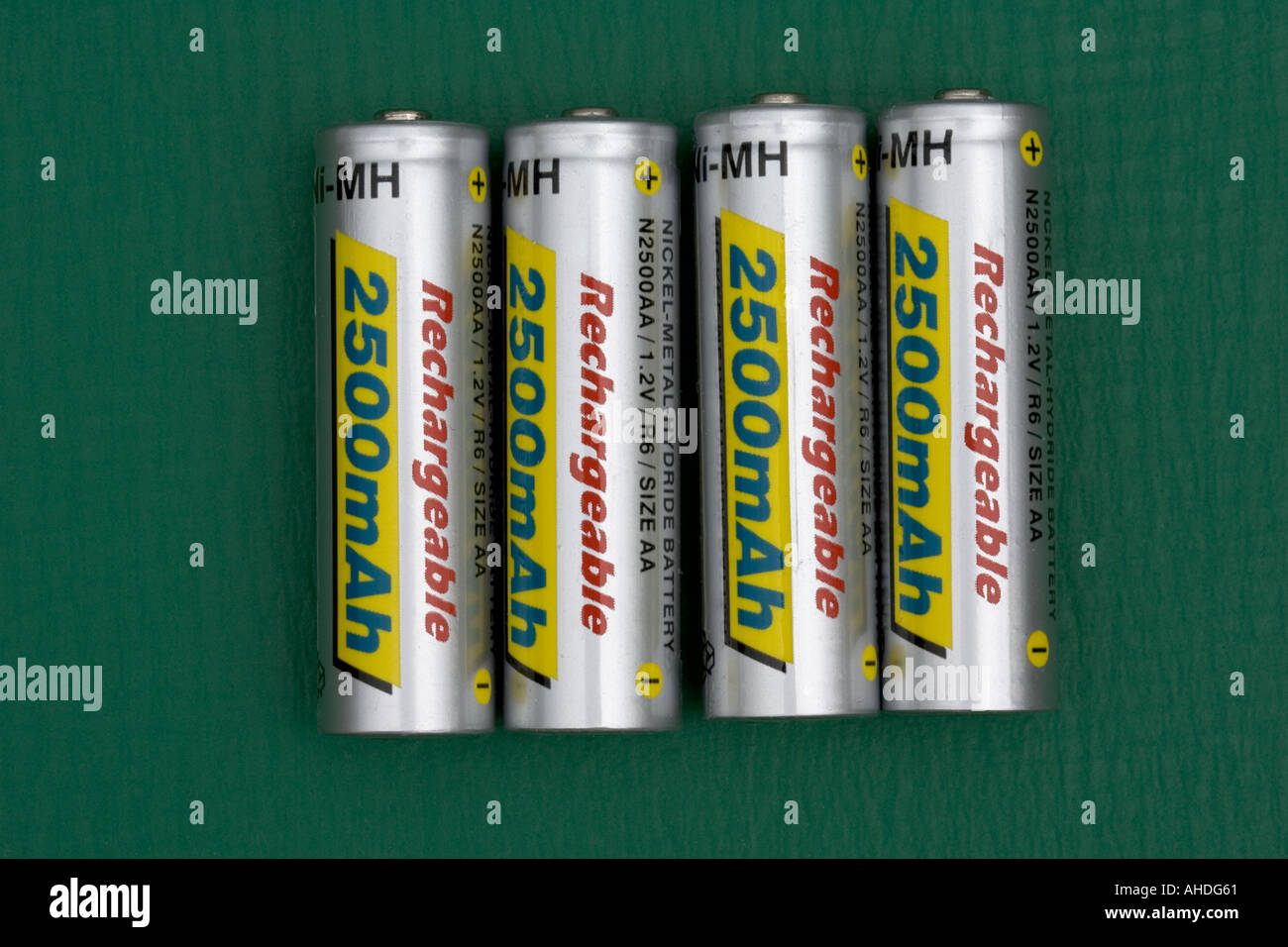Four high capacity 2500mA hr rechargeable AA batteries UK Stock Photo