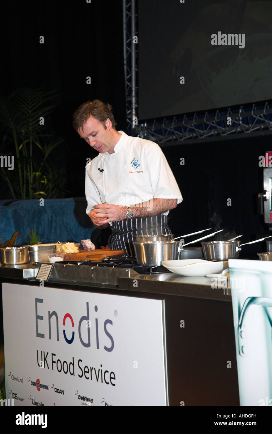 Top chef Marcus Wareing gives a demonstration at The Skills for Chefs conference at the University of Sheffield. - Stock Image