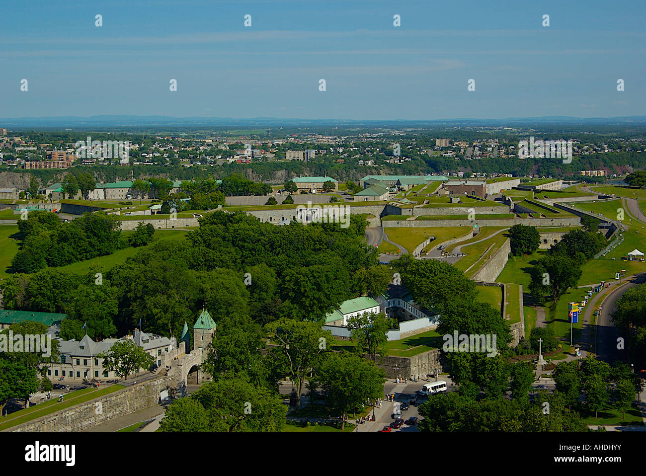 View of the Citadel and walls of Quebec City from atop the Hilton Hotel. - Stock Image