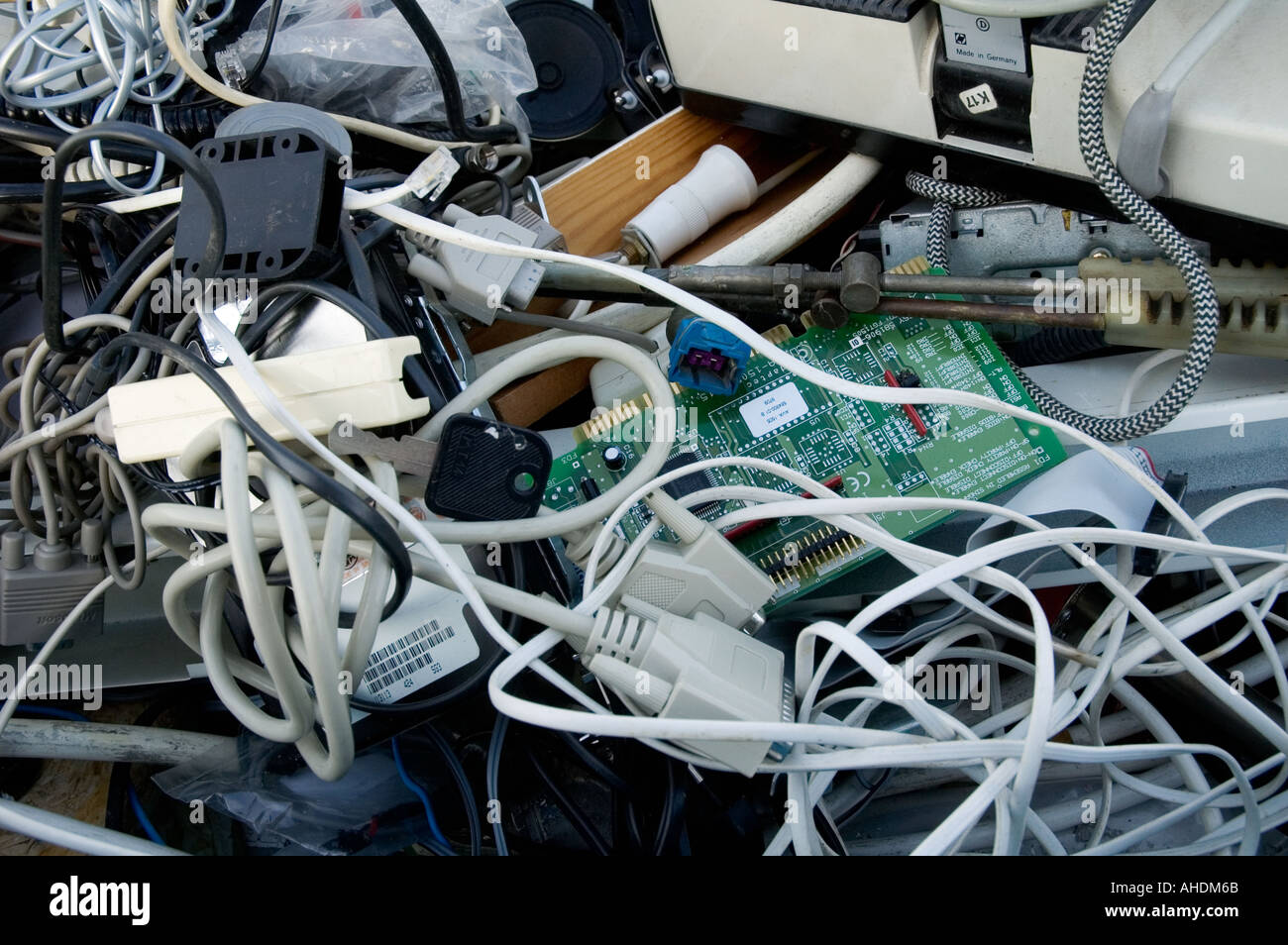 Collection of used electrical equipment cables and more Stock Photo ...