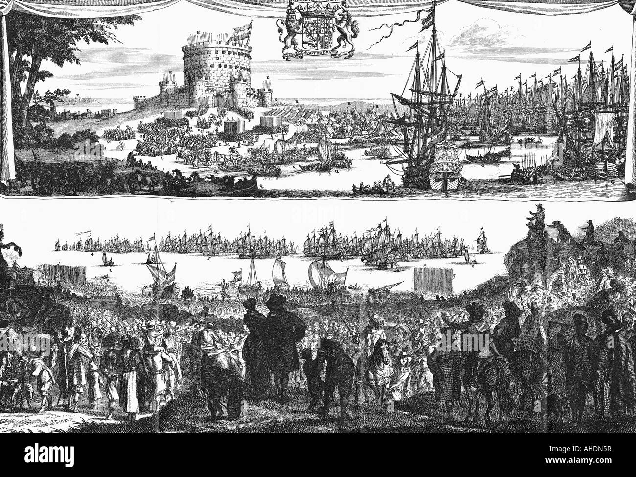 geography/travel, Great Britain, Glorious Revolution 1688, embarcation of William III of Orange at Hellevoetsluis - Stock Image
