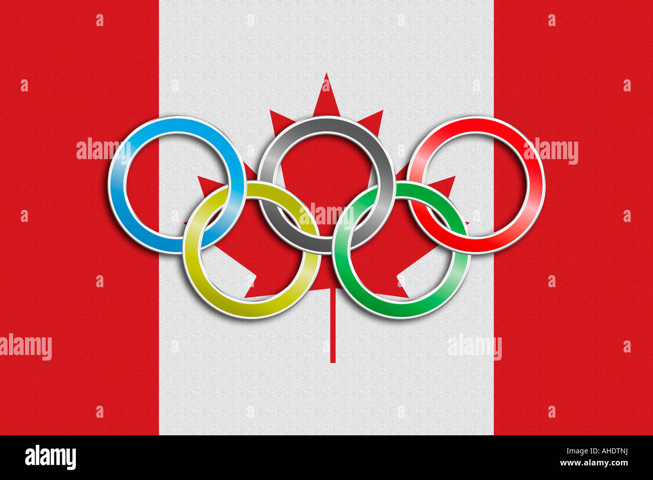 Flag of Canada with olympic symbol - Stock Image