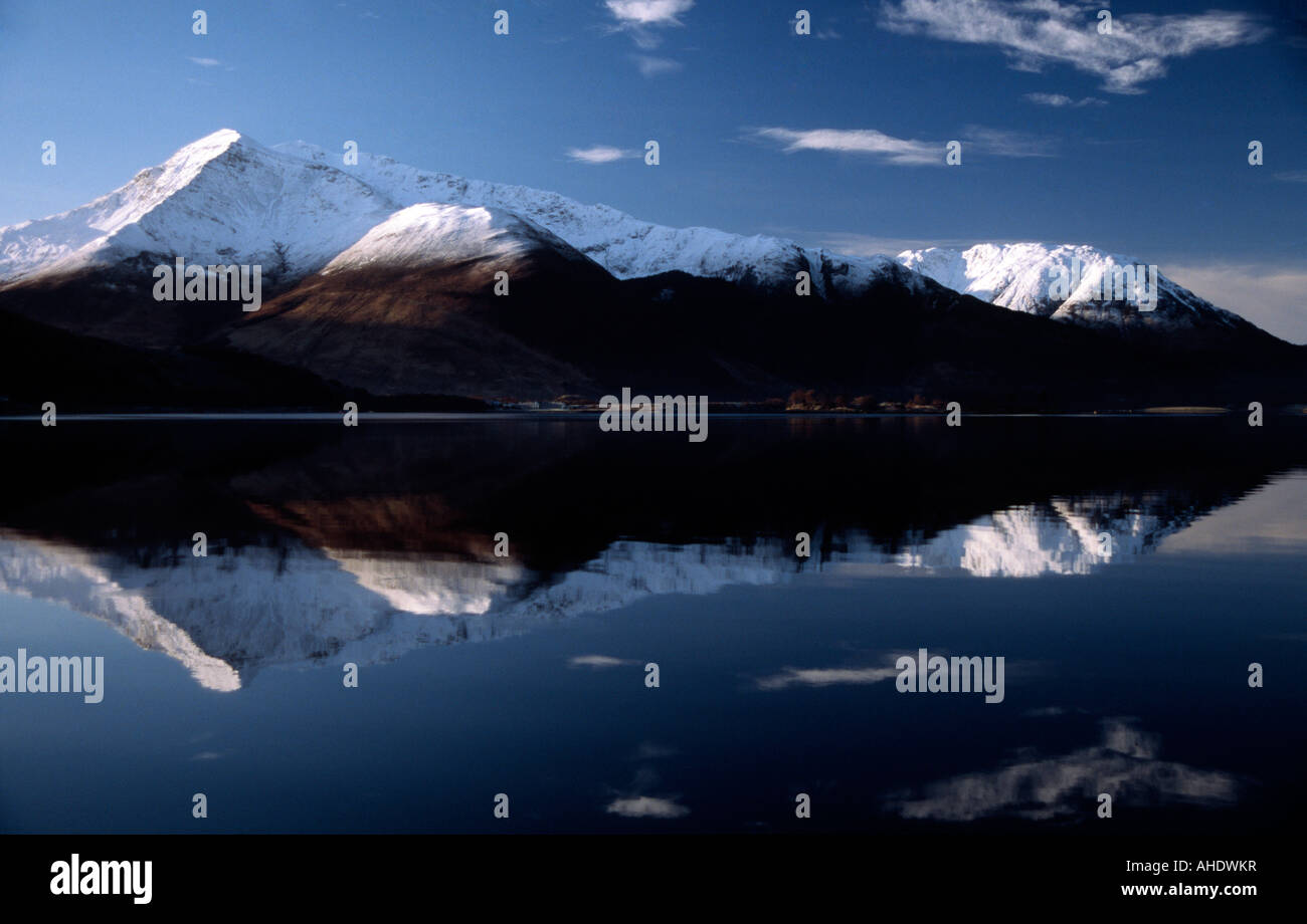 PICTURE CREDIT DOUG BLANE snowy mountains at Glen Coe Highlands Scotland United Kingdom of Great Britain - Stock Image