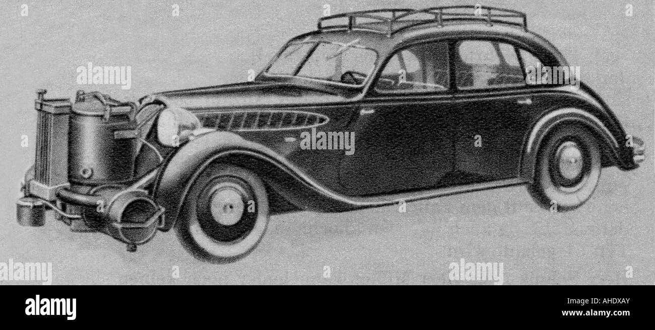 transport / transportation, car, BMW, with 'Wisco' wood gas generator, drawing, 1947, Additional-Rights - Stock Image