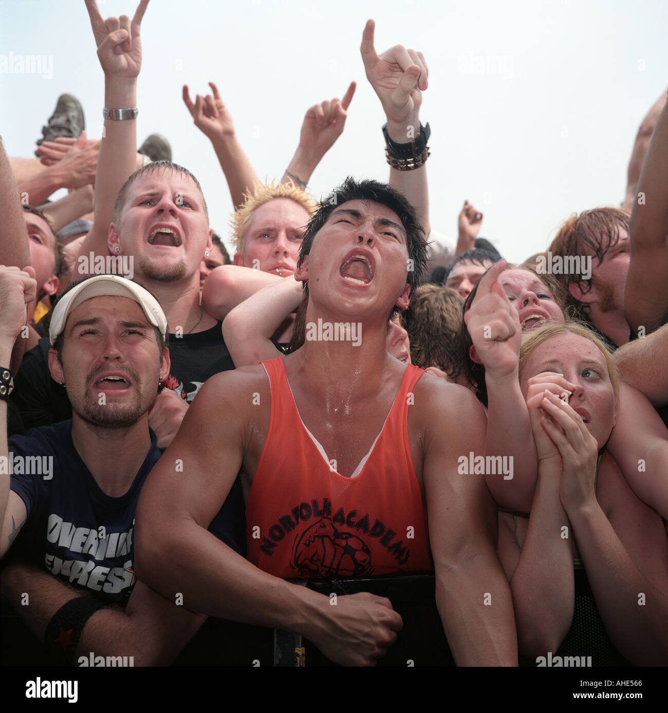 American punk rock fans in the mosh pit of an outdoor punk festival, the Warped Tour, Virginia, USA. - Stock Image