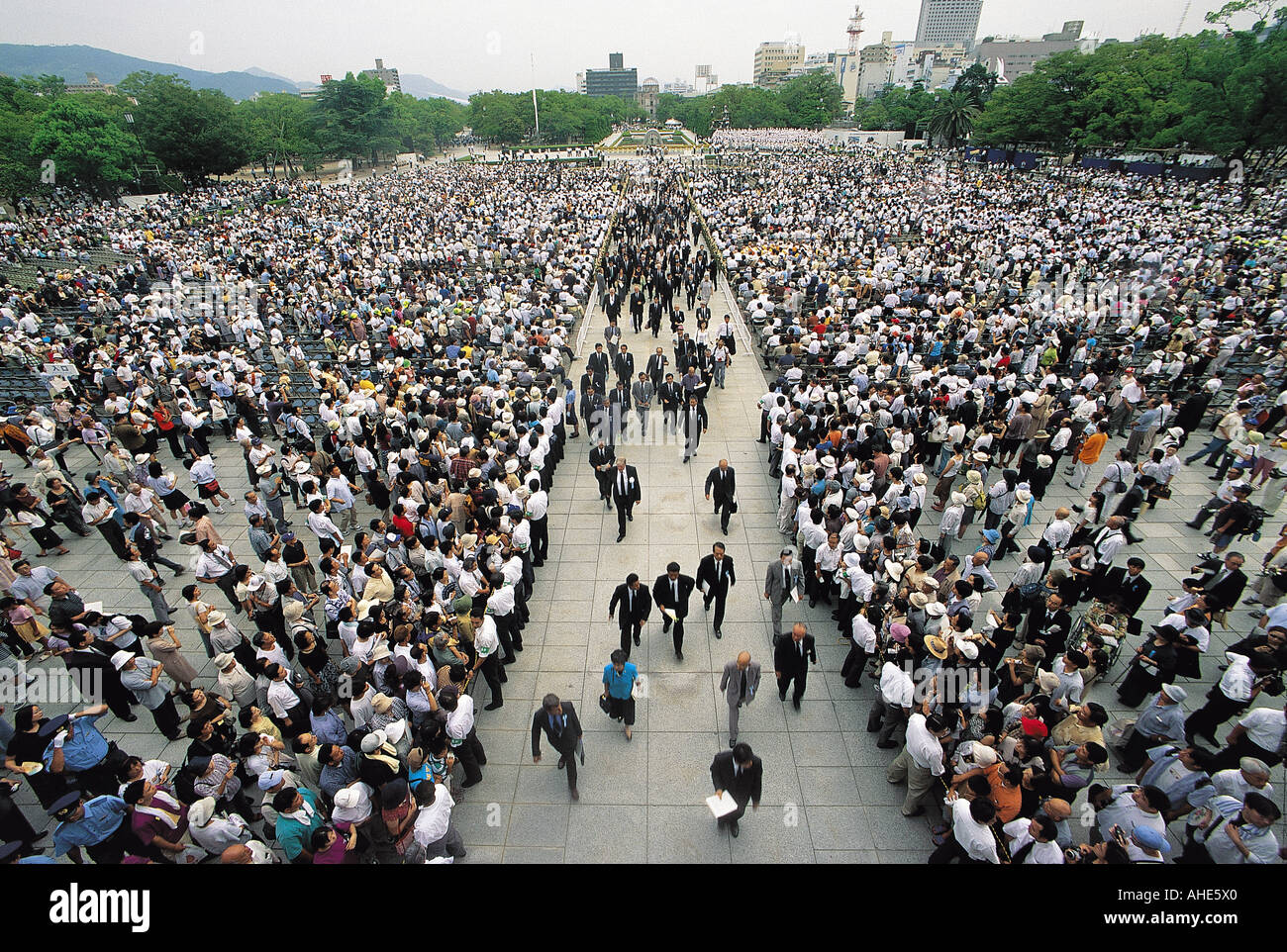Memorial day of atomic bomb explosion in Peace Park in Hiroshima, Japan. Stock Photo