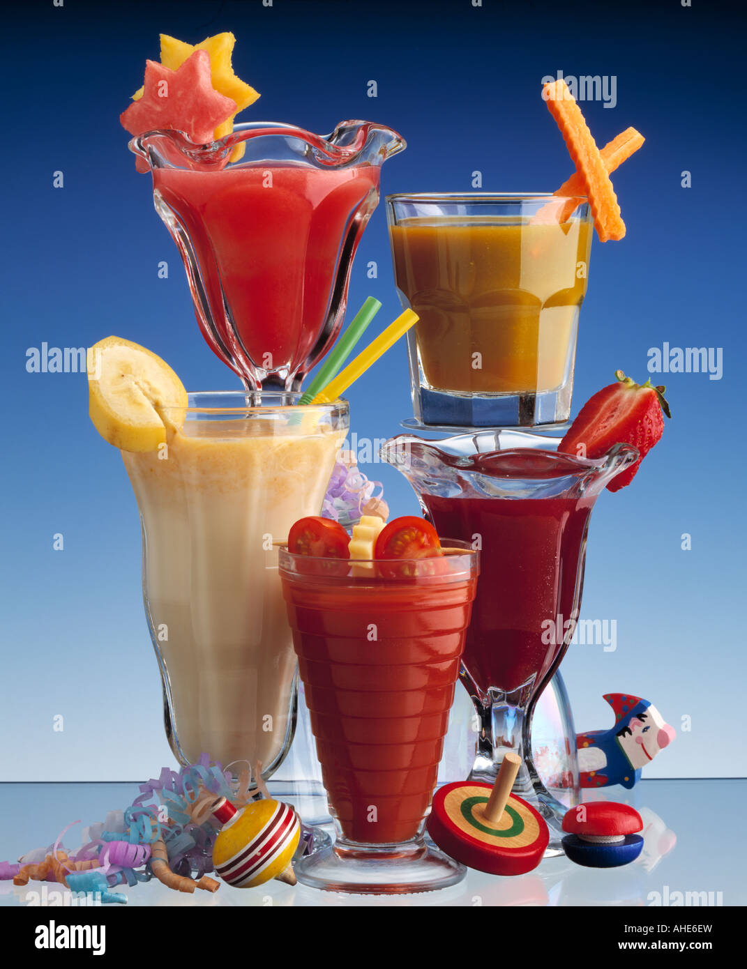 Colourful fruit cocktails graphic editorial - Stock Image