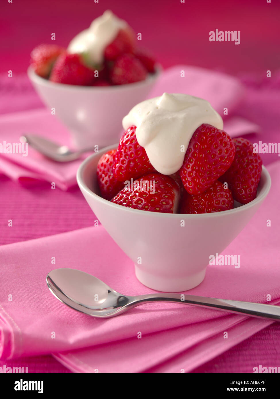 Valentines Day Strawberries And Cream Editorial Food Stock Photo