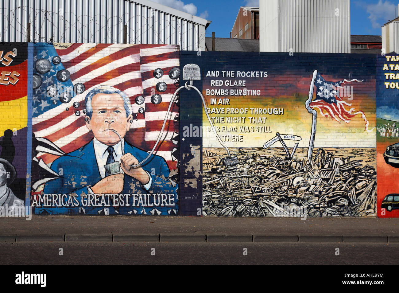 International wall murals in the republican falls road area of west belfast Northern Ireland . This mural is an - Stock Image