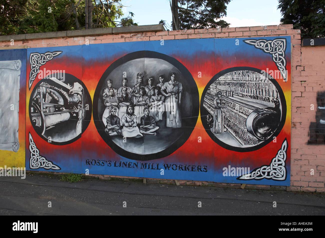 linen mills workers murals in the republican beechmount avenue off the falls road area of west belfast Northern - Stock Image