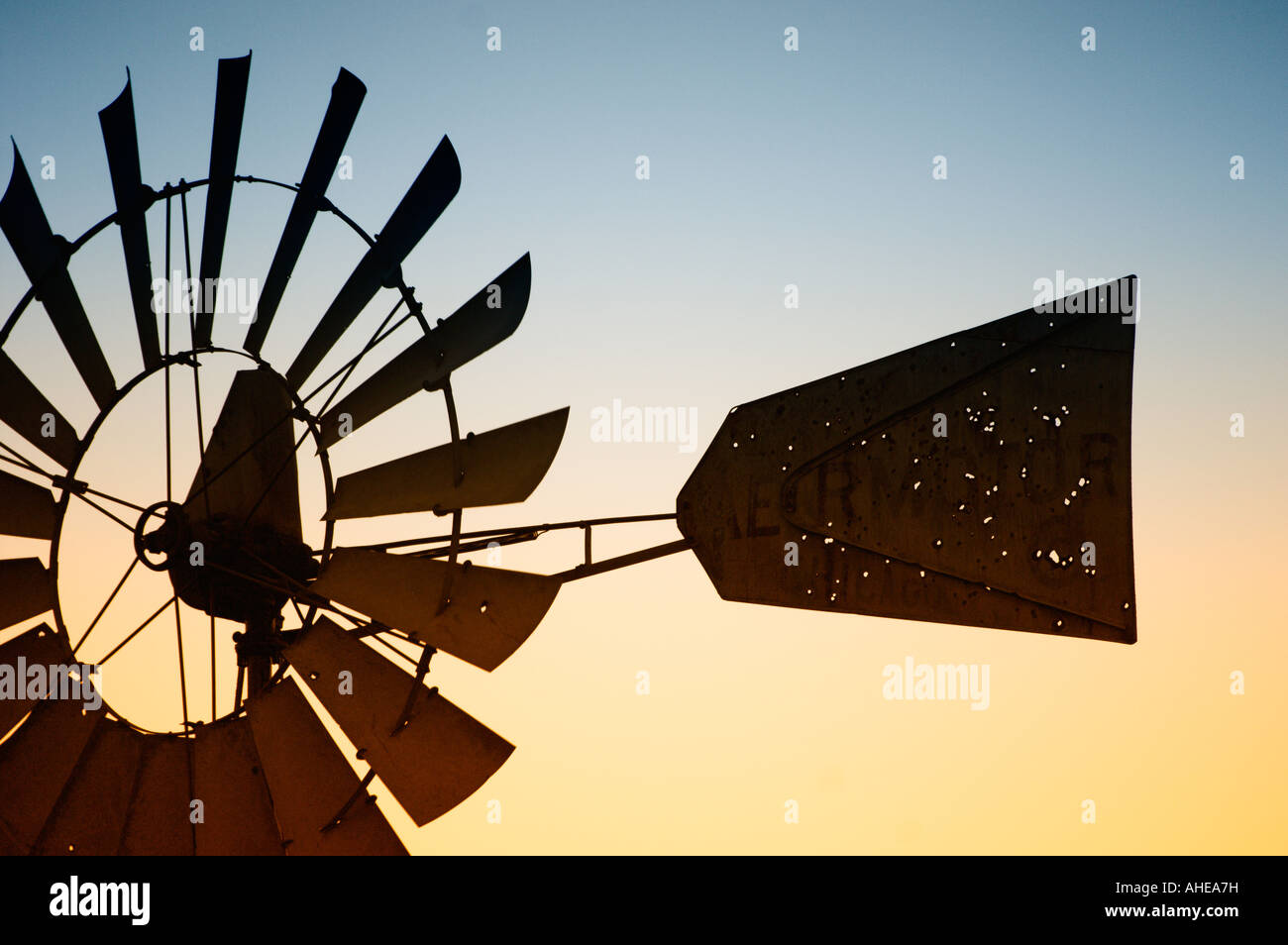 Windmill vanes close up at sunset - Stock Image