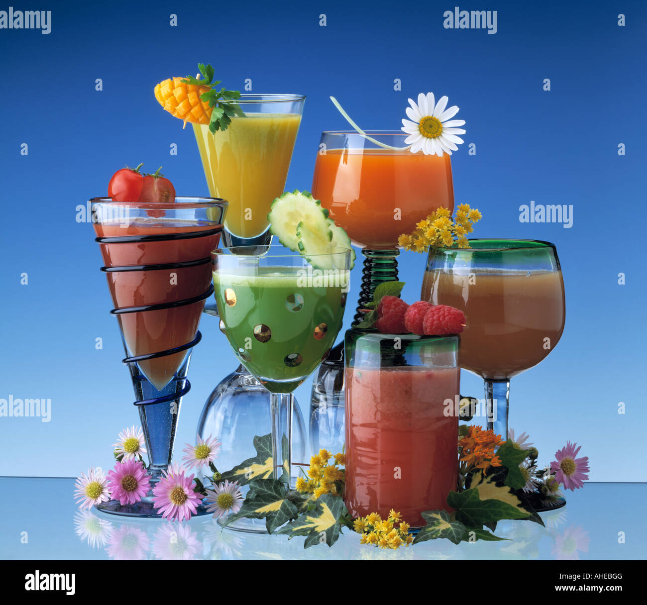 Fruit cocktails and smoothies editorial food - Stock Image
