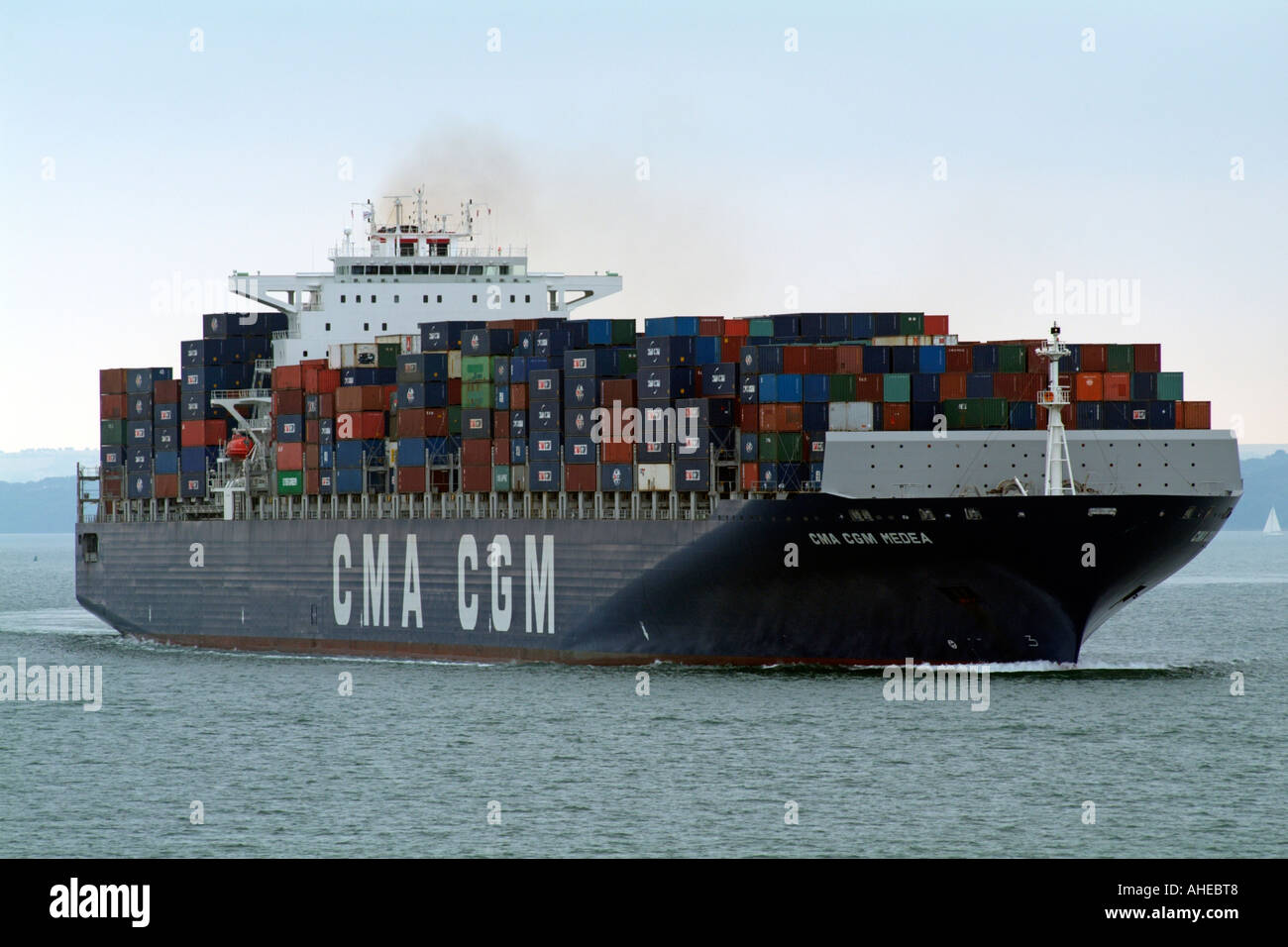 Container ship CMA CGM Medea on Southampton Water southern England UK - Stock Image