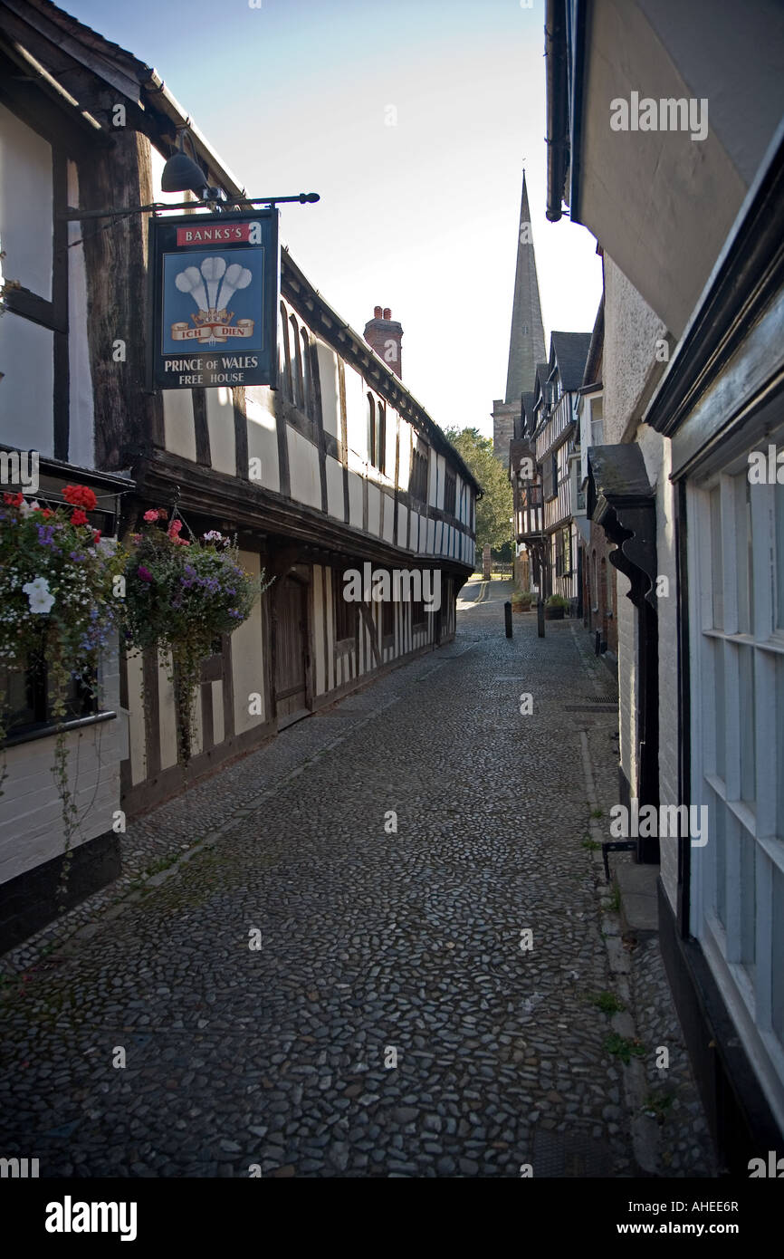 Church Lane, popular street in Ledbury, Herefordshire. - Stock Image