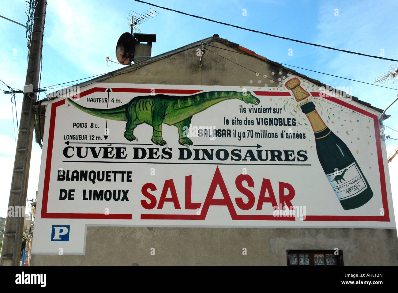 Dinosaur discoveries in Esperaza prompted dramatic promotion on a roadside wall for the local wine Blanquette de - Stock Image