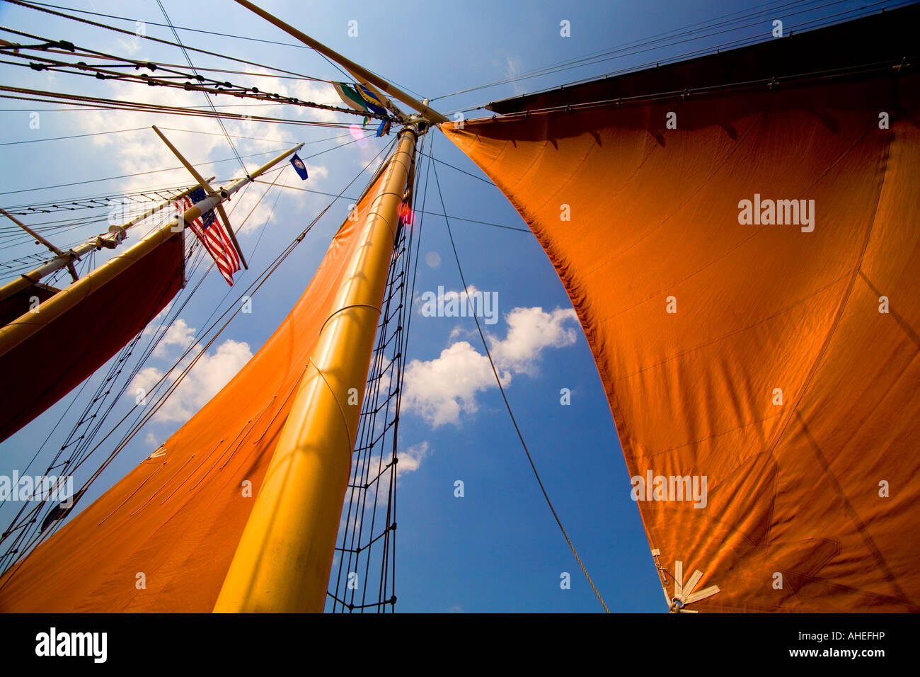 Sails on a tall ship Stock Photo