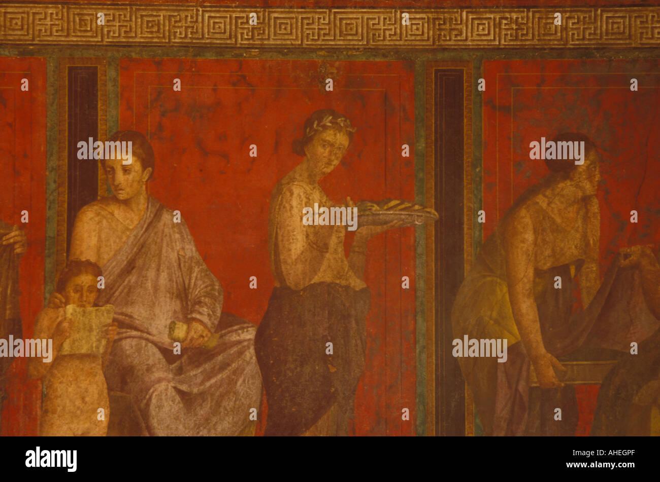 Cult of Dionysus fresco Villa of the Mysteries Pompeii Italy - Stock Image