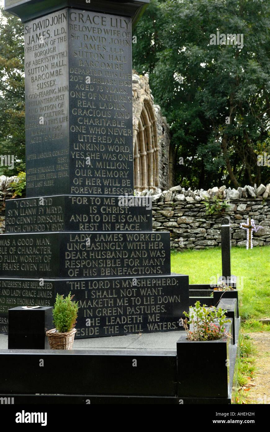 Norweigian black marble monument at Strata Florida chapel, Ceredigion, Wales. - Stock Image