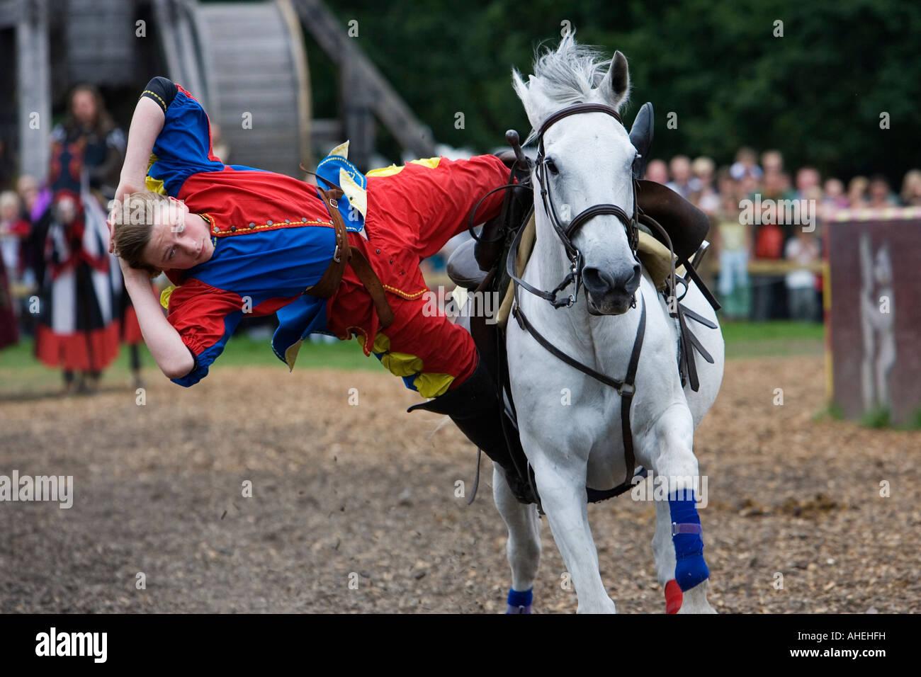 Stunt rider at Warwick Castle Warwick Warwickshire UK September 2007 - Stock Image