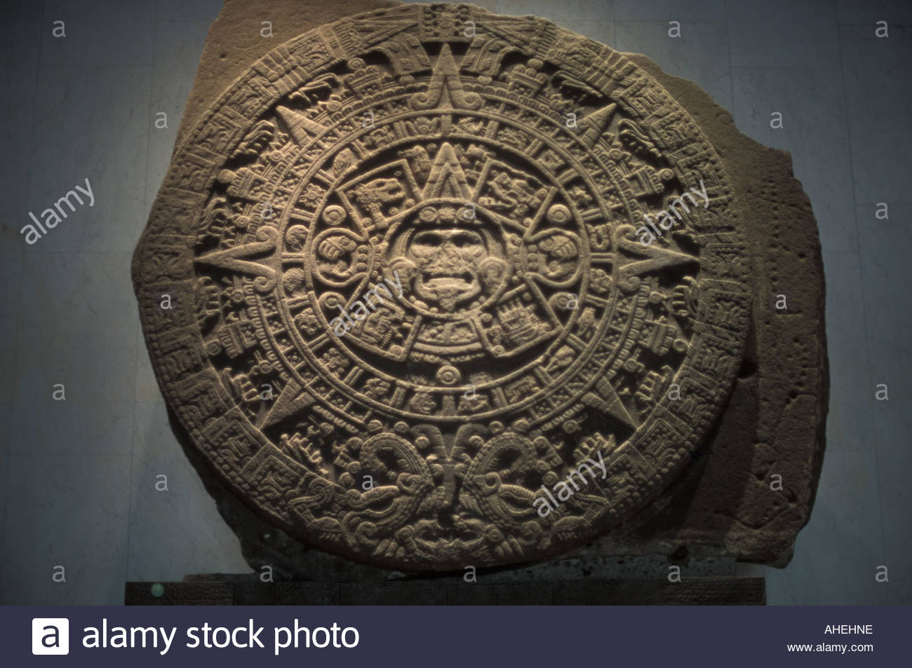 Calender stone face Sun God centre Anthropological Museum Mexico City - Stock Image
