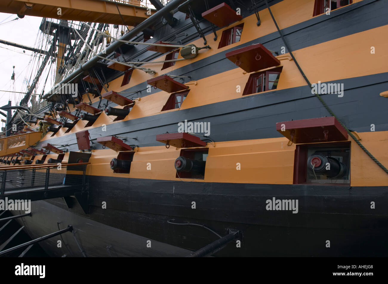 HMS Victory at Portsmouth Historic Dockyard, Hampshire, England - Stock Image