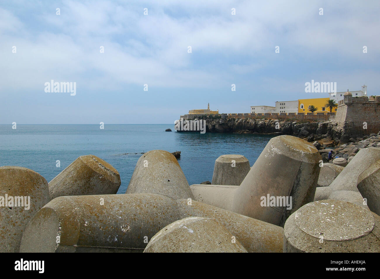 Defense concrete bulwark blocks in Peniche a seaside municipality and a city located in Oeste Subregion in formerly Estremadura Province Portugal - Stock Image