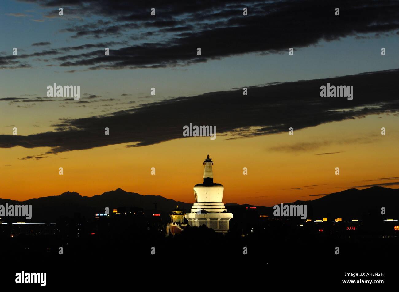 White pagoda which dominates the Jade Islet in Beihai Park in Beijing, China. 07 OCT 2007 Stock Photo