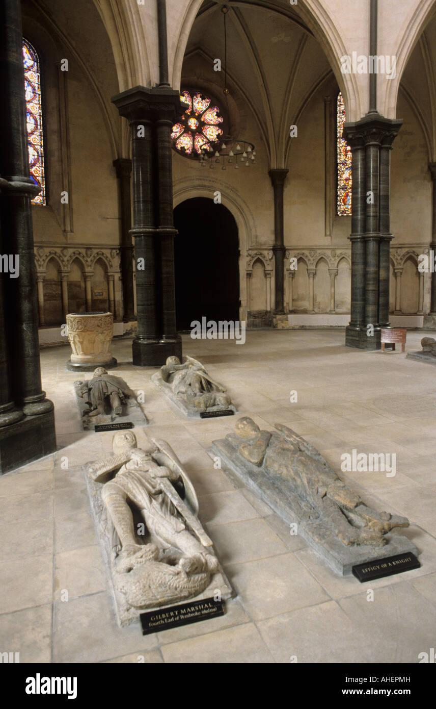 Temple Church London England UK interior Crusader Knights effigies medieval stone carved history sculpture round - Stock Image