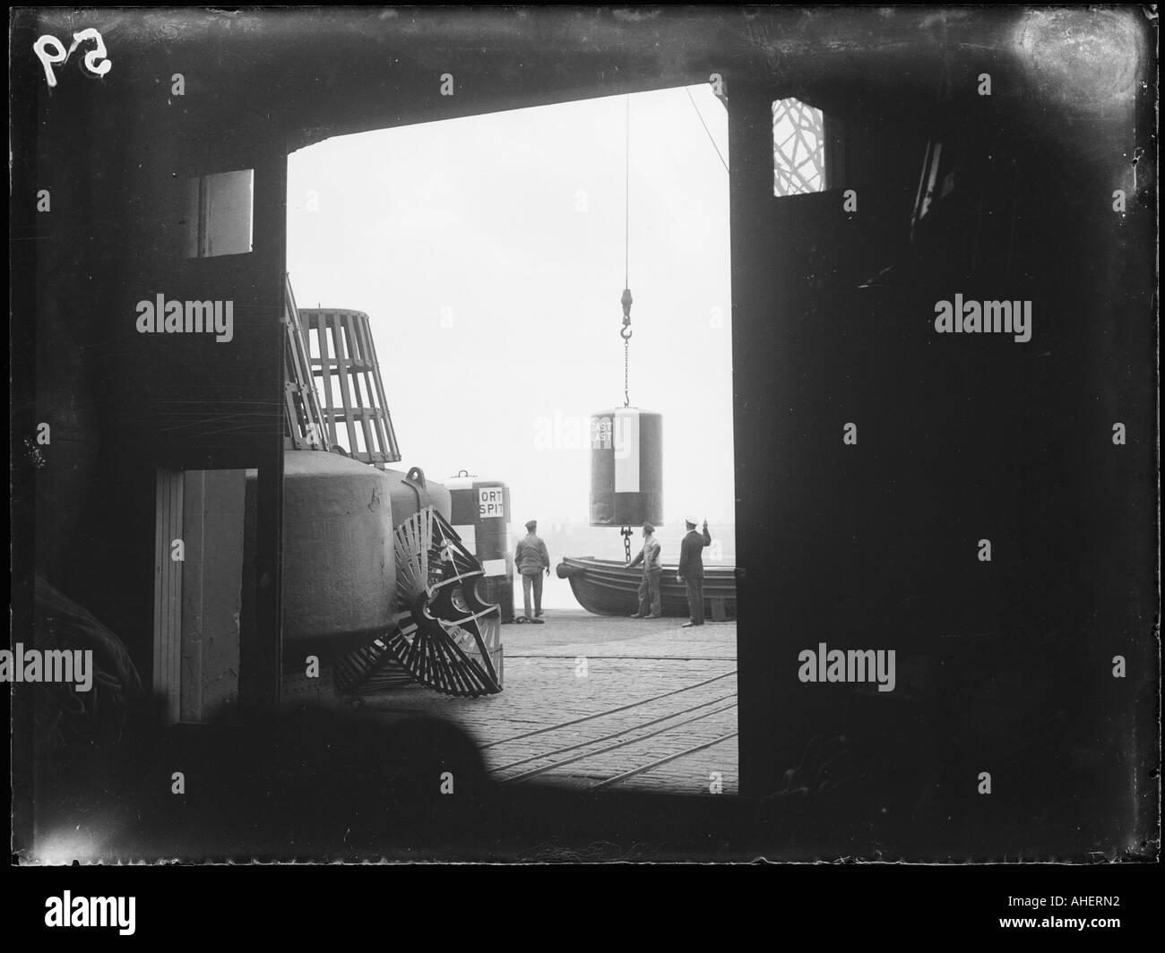 Life Buoys On Shore - Stock Image
