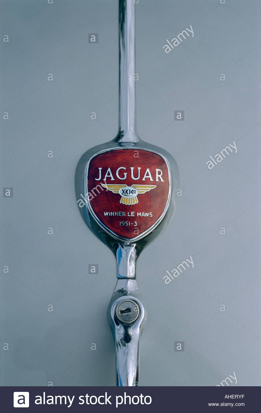 1954 Jaguar XK 140 Roadster Showing the Rear Trunk Lid LeMans Winner 1951 1952 1953 Badge - Stock Image