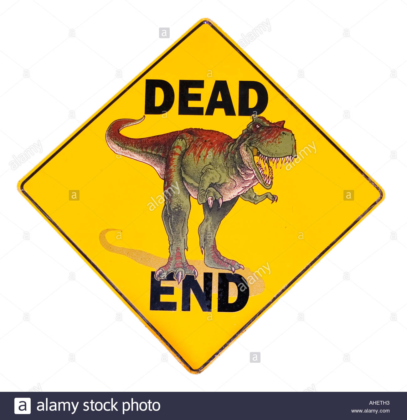 Dead End dinosaur sign at Petrified Creatures in Richfield New York - Stock Image