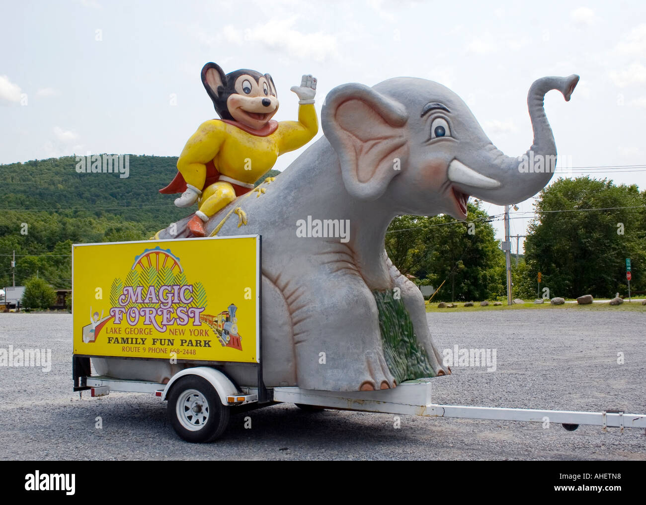 Mighty Mouse riding an elephant at Magic Forest in Lake George New York - Stock Image
