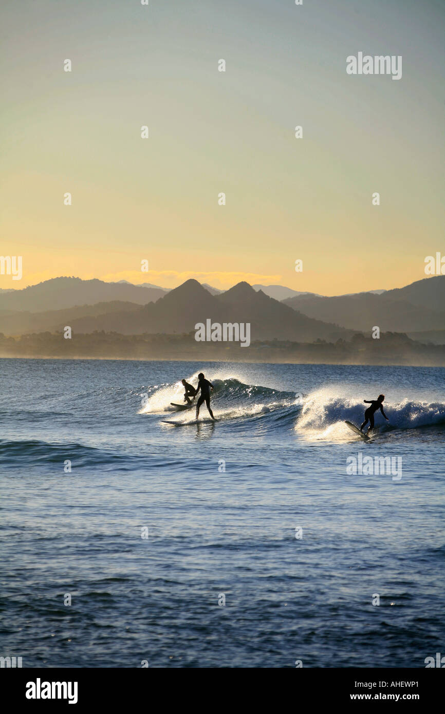 Surfing the afternoon break at Wategos beach Byron Bay Australia - Stock Image