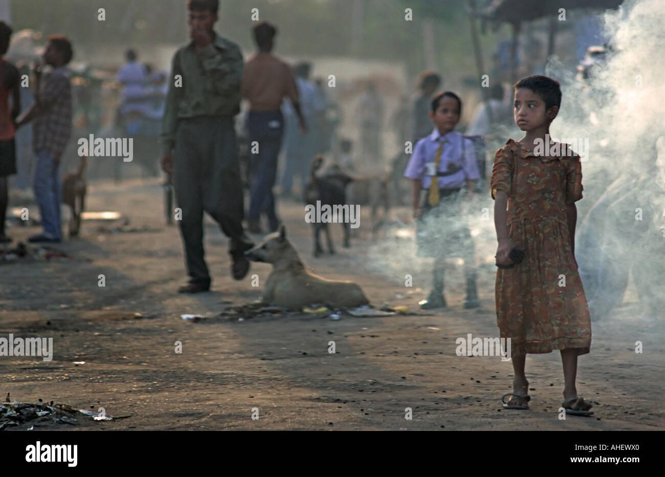 Atmospheric morning urban street scene Agra India - Stock Image