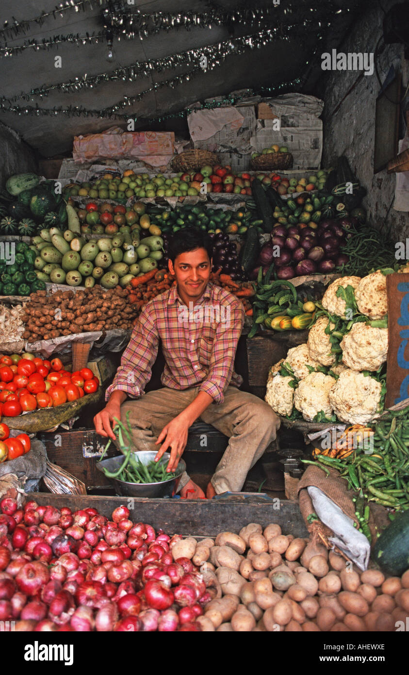 Vegetables vendor at market Manali Himachal Pradesh INDIA - Stock Image
