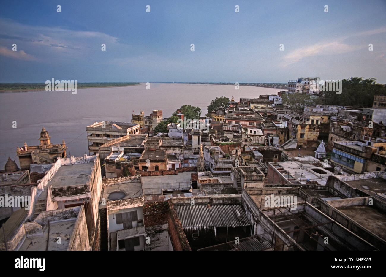 Scene over the rooftops of Varanasi and the Ganges river Uttar Pradesh India Rooftop cafe view - Stock Image