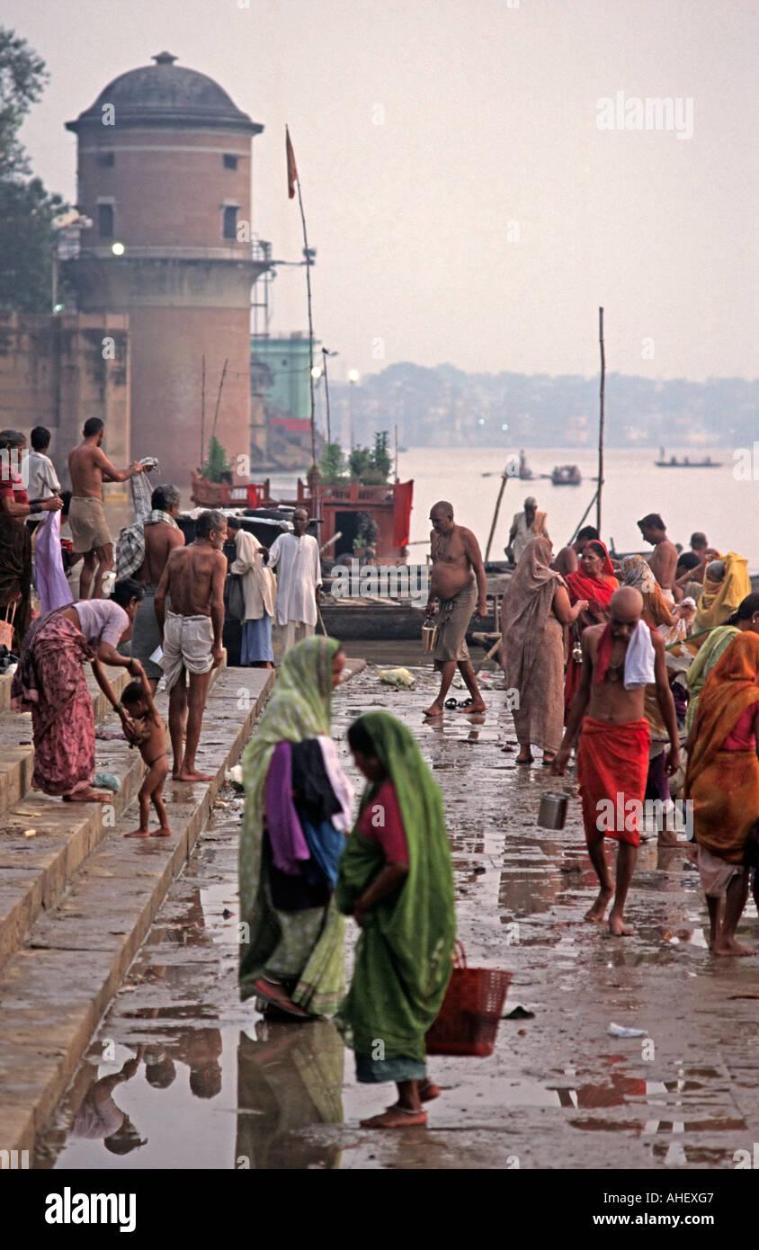 Crowded ghats of Varanasi at dawn Uttar Pradesh India - Stock Image